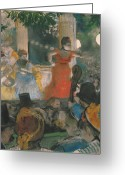 Outdoors Pastels Greeting Cards - Cafe Concert at Les Ambassadeurs Greeting Card by Edgar Degas