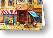 Montreal Summer Scenes Greeting Cards - Cafe De Vieux Montreal With Couple Greeting Card by Carole Spandau