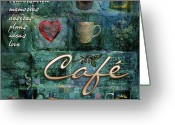 Latte Digital Art Greeting Cards - Cafe Greeting Card by Evie Cook
