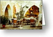 Archways Greeting Cards - Cafe France Greeting Card by Georgia Fowler