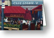 Street Scene Greeting Cards - Cafe George V Greeting Card by Christopher Mize