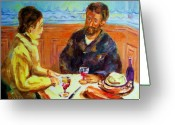 Montreal Street Life Greeting Cards - Cafe  Homage  De Pierre Auguste Greeting Card by Carole Spandau