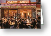 Brasserie Greeting Cards - Cafe Jade Greeting Card by Guido Borelli