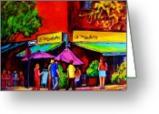 Montreal Summer Scenes Greeting Cards - Cafe La Moulerie On Bernard Greeting Card by Carole Spandau