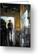Backlit Painting Greeting Cards - Cafe Mocha Greeting Card by Barbara Wilson