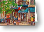Corner Stores Greeting Cards - Cafe Olimpico-124 Rue St. Viateur-montreal Paintings-sports Bar-restaurant-montreal City Scenes Greeting Card by Carole Spandau