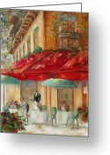 Europe Painting Greeting Cards - Cafe Paris Greeting Card by Chris Brandley