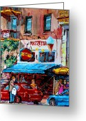 Resto Cafes Greeting Cards - Cafe Piazzetta  St Denis Greeting Card by Carole Spandau