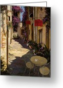 Small  Greeting Cards - Cafe Piccolo Greeting Card by Guido Borelli