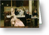 Couples Painting Greeting Cards - Cafe Scene in Paris Greeting Card by Henri Gervex