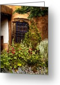 Santa Fe Greeting Cards - Cafe Window Greeting Card by David Patterson