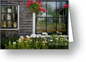 Art Of Building Greeting Cards - Cafe Windows Greeting Card by Susan Cole Kelly