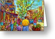 Cafescenes Greeting Cards - Cafes In Springtime Greeting Card by Carole Spandau