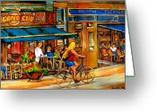 Montreal Street Life Greeting Cards - Cafes With Blue Awnings Greeting Card by Carole Spandau