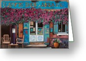 Shops Greeting Cards - caffe del Aigare Greeting Card by Guido Borelli
