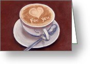 Wall Pastels Greeting Cards - Caffe Latte Greeting Card by Anastasiya Malakhova