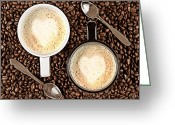 Dating Greeting Cards - Caffe Latte for two Greeting Card by Gert Lavsen