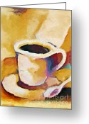 Barista Greeting Cards - Caffe Lungo Greeting Card by Lutz Baar