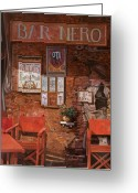 Waiter Greeting Cards - caffe Nero Greeting Card by Guido Borelli