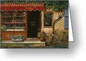 Street Scene Greeting Cards - caffe Re Greeting Card by Guido Borelli