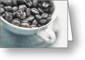 Coffee Beans Greeting Cards - Caffeine Greeting Card by Priska Wettstein