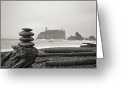 Olympic National Park Greeting Cards - Cairn on a beach Greeting Card by Olivier Steiner