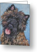 Cairn Terrier Greeting Cards - Cairn terrier Brindle Greeting Card by Lee Ann Shepard