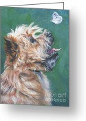 Cairn Terrier Greeting Cards - Cairn Terrier with butterfly Greeting Card by Lee Ann Shepard