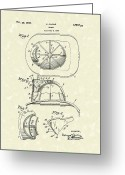 Patent Artwork Greeting Cards - Cairns Helmet 1932 Patent Art Greeting Card by Prior Art Design