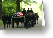 Ceremonies Greeting Cards - Caisson And Honor Guard On The Way Greeting Card by Skip Brown