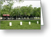 Burials Greeting Cards - Caisson On The Way To A Burial Site Greeting Card by Skip Brown