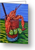 Louisiana Seafood Greeting Cards - Cajun Cocktail Greeting Card by JoAnn Wheeler