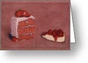 Strawberry Drawings Greeting Cards - Cakefrontation Greeting Card by James W Johnson