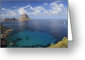 Stack Rock Greeting Cards - Cala Dhort Beach, Ibiza Greeting Card by Michele Falzone
