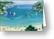 Beach Scene Greeting Cards - Cala Galdana - Minorca Greeting Card by Anne Durham