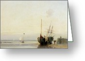 Beach Scenes Greeting Cards - Calais Pier Greeting Card by Richard Parkes Bonington
