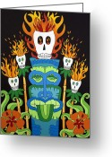 Calaveras Greeting Cards - Calavera Tikis Greeting Card by Robin Westenhiser