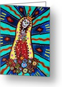 Turkus Greeting Cards - Calavera Virgen Greeting Card by Pristine Cartera Turkus