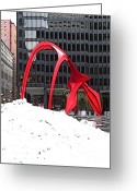 Alexander Calder Greeting Cards - Calder Flamingo in winter Greeting Card by David Bearden