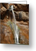 Pouring Greeting Cards - Calf Creek Falls Greeting Card by Melany Sarafis