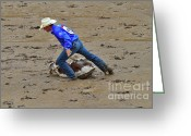 Infield Greeting Cards - Calf Roping at the Calgary Stampede Greeting Card by Louise Heusinkveld
