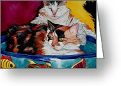 Veterinarian Greeting Cards - Calico And ET Greeting Card by Patti Schermerhorn