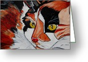 Calico Cat Greeting Cards - Calico Close up of Face Greeting Card by Patti Schermerhorn