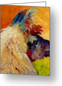 Farm Painting Greeting Cards - Calico Llama Greeting Card by Marion Rose