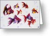 Aquarium Painting Greeting Cards - Calico Ryukin Goldfish Greeting Card by Zaira Dzhaubaeva