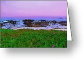 Purple Sky Greeting Cards - California Coast Greeting Card by Jen White