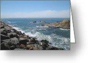Dark Gray Blue Greeting Cards - California Dreamin Greeting Card by Connie Fox