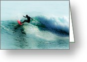 Surf Art La Jolla Digital Art Greeting Cards - California Dreaming - Red Greeting Card by David Rearwin