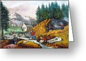 1871 Greeting Cards - California: Gold Mining Greeting Card by Granger