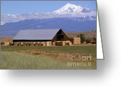 Snow Capped Digital Art Greeting Cards - California Hay Barn Greeting Card by Methune Hively